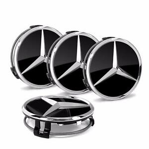 Genuine Wheel Center Hub Cap Star Black Chrome Covers 4x Set Mercedes B66470200