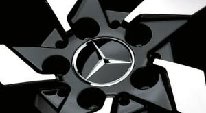 Mercedes Wheel Center Hub Cap Star Black Chrome Cover Genuine B66470200