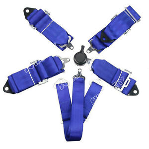 Hi q Sports Racing Harness Seat Belt 3 4 5 6 Point Fixing Quick Release Blue