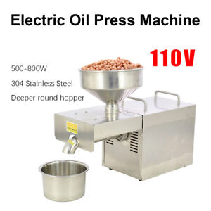110v Stainless Steel Automatic Oil Press Extraction Machine Commercial Home Use