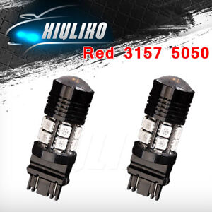 2x Red 3157 3156 4157 Projector 12 Smd Chip Tail Brake Stop Led Light Bulbs 12v