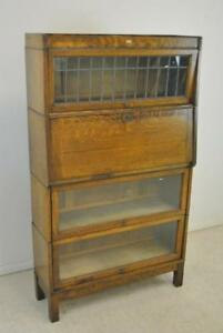 Antique Oak Barrister Bookcase Secretary Leaded Glass Window 1900 S 58 Tall