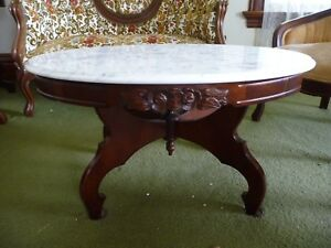 Victorian Kimball Marble Top Coffee Table Mahogany Rose Wood Furniture Antique