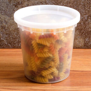 240 Count Plastic Deli Food Container 24 Oz Delitainer With Lids