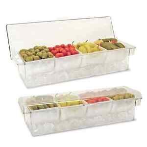 Condiment Dispenser On Ice 4 compartment Clear W Clear Lid Chilled Holder Caddy