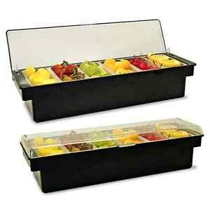 Chilled Condiment Holder Tray Holds Ice 6 Pint Compartments Black Clear Lid