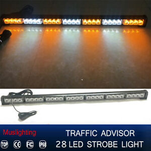 31 28 Led Emergency Warning Traffic Advisor Strobe Light Bar Y Amber White 12v