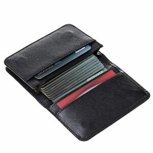 Burkley Case Credit Card Wallet Business Card Holder In Pebble Black Leather