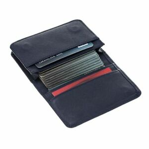 Burkley Credit Card Wallet Business Card Holder In Saffiano Navy Blue Leather