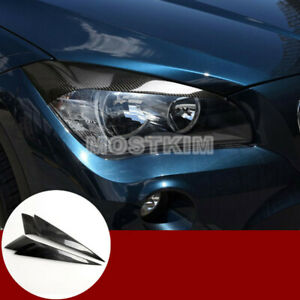 Carbon Fiber Headlight Eye Lid Eyebrow Trim Cover 2pcs For Bmw X1 E84 2010 2015