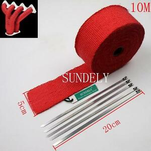 New Red Exhaust Header Heat Pipe Wrap Tape Turbo 10m X 50mm 5 Ties Motorcycle
