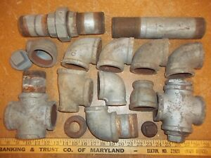 Lot Vintage Pipe Fittings 2 2 5 Usa 90 s Steampunk Lamp Part