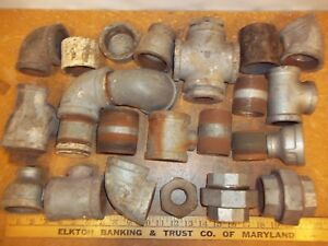Lot Vintage Pipe Fittings 2 1 5 Usa 90 s Tee Etc Steampunk Lamp Part