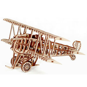 Plane Model 3d Wood Puzzle Diy Mechanical Toy Assembly Gears Kit Us Seller