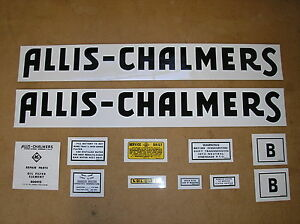 Allis Chalmers B New Decal Set For Tractors 18 6 87