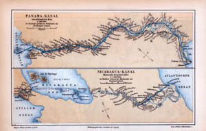 Panama Canal Nicaragua Canal Plans Historical Map Lithograph Print 1889 Dated