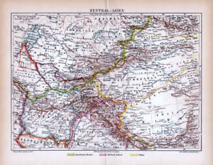 Central Asia Turkestan Afghanistan Tibet Map Colonies Lithograph 1890 Dated