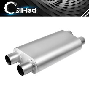 3 Chamber 2 5 Dual Inlet 2 5 Dual Tip Outlet Offset Performance Race Muffler