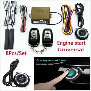 8pc Car Alarm Start Security System Passive Keyless Entry Push Button Remote Kit
