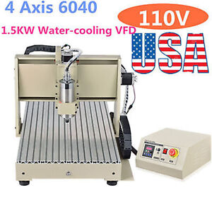 1500w 4 Axis 6040 Cnc Router Engraver Engraving Milling Machine Vfd Metalworking
