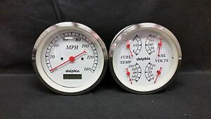 White Gauge 5 Quad Set With Programmable Speedo Street Rod Hot Rod Universal