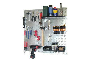 Galvanized Pegboard Organizers Tool Storage Steel Shelves Wall Mount Brackets