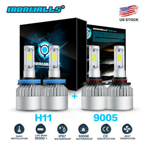 9005 H11 6000k 3000w 450000lm Combo Cree Led Headlight Kit High Low Light Bulb