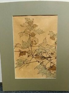 Antique Imao Keinen Japanese Woodblock Print N0 22 Mounted On Board