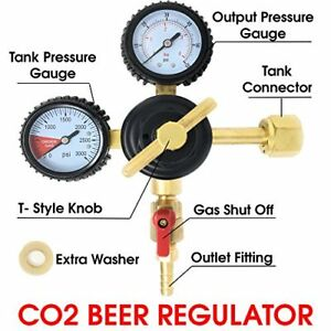 Co2 Beer Regulator Keg T style Handle 0 To 60 Psi 0 To 3000 Tank Pressure