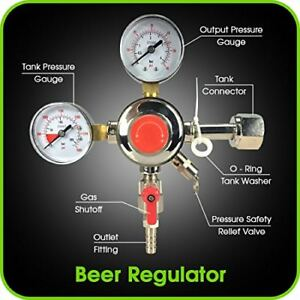 Co2 Beer Regulator Dual Gauge Keg 0 To 60 Psi Cga 320 Inlet 3 8 O d