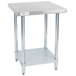 24 X 24 Stainless Steel Nsf Commercial Kitchen Work Table With Undershelf