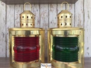 14 Deluxe Brass Port Starboard Lanterns Ship Oil Lamp Nautical Maritime
