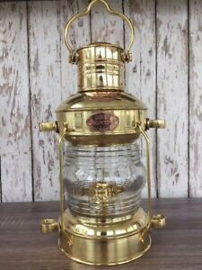 Brass Anchor Oil Lamp Nautical Maritime Ship Lantern Boat Light