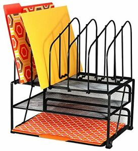 Decobros Mesh Desk Organizer With Double Tray And 5 Upright Sections new