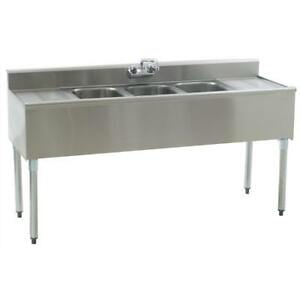 Stainless Steel 3 Compartment Underbar Sink 60 X 20 With 2 Drainboards