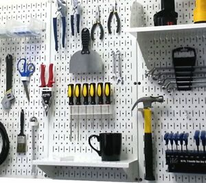 Garage Tool Organizer Pegboard Storage Workshop Panel Wall Mount Metal Garden