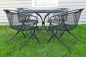 Russell Woodard Patio Set 4 Spring Bounce Barrel Back Chairs Dining Table Vintag