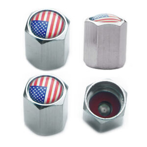 4 Us Flag Copper Tire Valve Stem Caps Rubber Seal F Motorcycle Car Jeep Suv