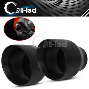 1 Pair Double Wall Weld On Exhaust Tips 2 5 Inlet 4 Outlet 5 Long S S Black