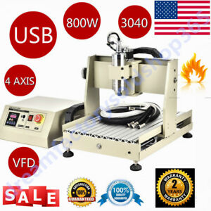 4axis 3040 Cnc Router Engraver Usb Milling Drilling Carving Cutter Machine 800w