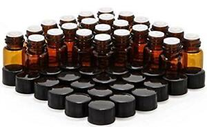 Elufly 1 4 Dram Amber Glass Vial 1ml Oil Bottles 150 Screw Cap 150 Orifice