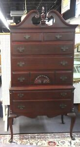 Queen Anne Style Mahogany Highboy W Swan Neck Bonnet Carved Shell 71 H X 36 W