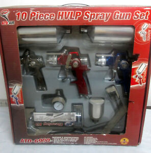 Atd Air Atd 6900 10 Piece Hvlp Spray Gun Set New