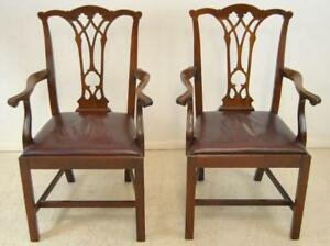Pair Of Walnut Chippendale Side Armchairs With Red Leather Seats