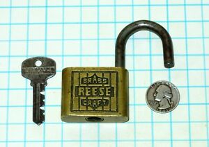 Vtg Antique Old Art Deco Logo Brass Craft Reese Lock Co Warded Padlock 502 Key