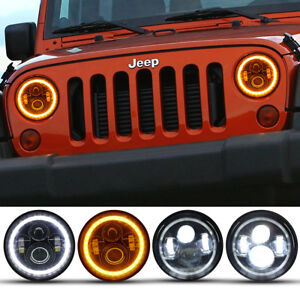 2x 7 Inch Round Led Halo Angel Eyes Headlight For Jeep Wrangler Tj lj cj jk