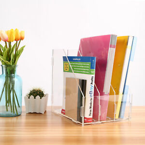 Acrylic A4 Clear Organiser Office Storage Filing Tray Desk Letter Paper 3 Slots