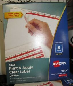 Avery 8 tab Print Apply Clear Label Dividers 50 Set 11557 5a