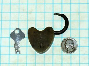 Vtg Antique Old Small Brass Case Body Mwco Heart Shaped Padlock Lock