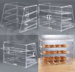 3 Pack 3 Tray Bakery Counter Display Case Rear Door Donut Cookie Pastry Hotel